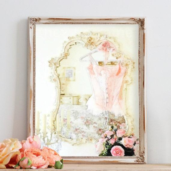 Shabby Cottage Chic Nest Prints Home Decor Wall Art ~ Lingerie art print shabby chic watercolor fine