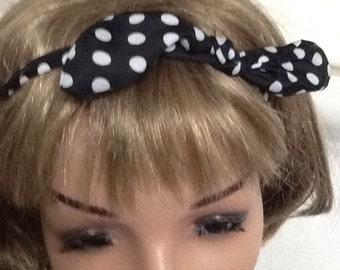 Black white polka dot bow headband,headwrap,free shipping