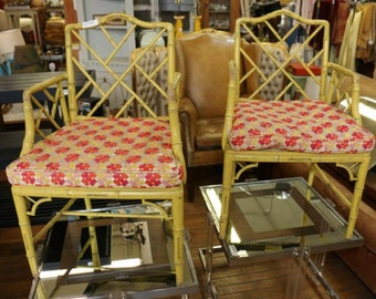 Faux Bamboo Chinese Chippendale Armchairs Pair|  Hollywood Regency | Mid Century Modern | Palm Beach | Chinoiserie