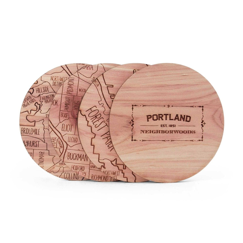 Portland Wood City Coasters Laser Engraved Set Of 4