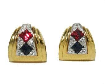 80s Mogul Earrings, Runway Earrings, Pave Crystal Earrings, Vintage Statement Earrings, 1980s Jewelry Jewellery, Regency