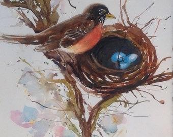 Bird, robin, robin's nest, robin eggs, original painting, spring, Mother's Day