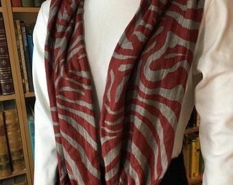 Deep Red and Gray Animal Print Cotton Infinity, Loop, Circle Scarf