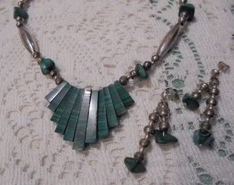 Sale--Sterling Silver / Malachite nugget/slat Native Handcrafted Necklace/Earring set