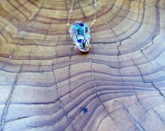 Swarovski crystal skull necklace on Rose gold chain