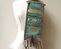 Vintage ribbon, Mohawk Valley Grange No. 579, P of H, New York , Shabby Chic, Fixer Upper Style, Turquoise,  Brass Accents.