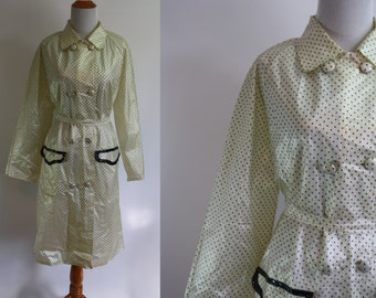 1980's Raincoat // Polka Dot Print // Large