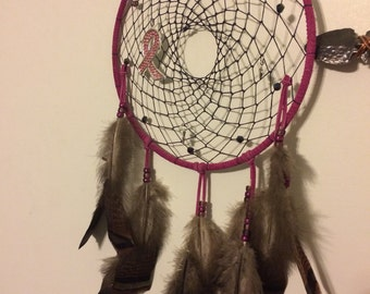 Large pink dreamcatcher/ breast cancer awareness. Free shipping in February