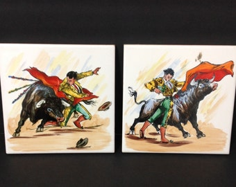 Matador Bull Fighter Toro Hand Painted Ceramic Tile Trivet Spain España Set of 2 Castellon