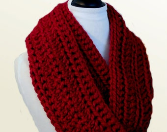 RED SCARF Dark Red Infinity Scarf Cowl Knit Crochet Wool Scarves Chunky Dark Red Infiniti Loop Scarf Circle Scarf Women Scarfs