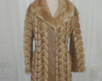 Vintage Retro Shabby Chic Leather & Mink Fur Schlampps Minneapolis Coat Womens Size Med