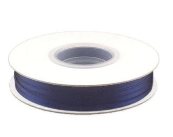 1/8 Inch Double Faced Satin Ribbon - Navy Blue - 100 Yard Spool