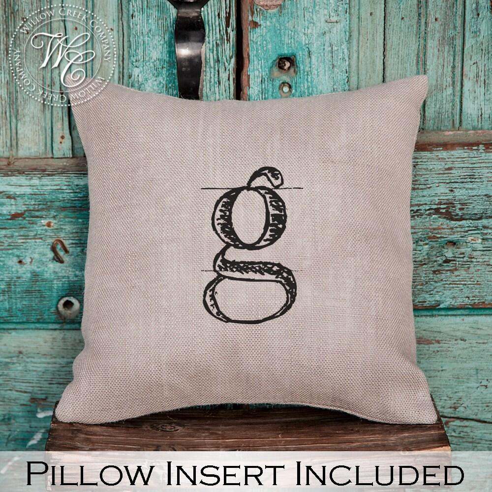 Monogram A Pillow: Monogram Pillow Burlap Pillow Personalized Wedding Gift
