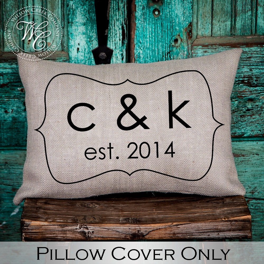Monogram A Pillow: Personalized WEDDING Gift BURLAP PILLOW Cover Pillow With