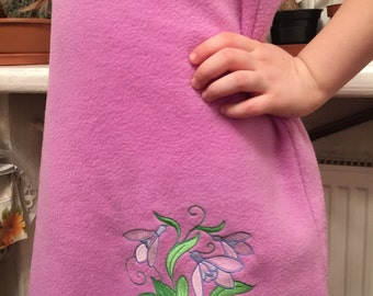 Girl Dress Embroidered Fleece Purple