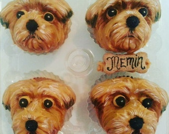 4 sugar free DOG FACE CUPCAKES