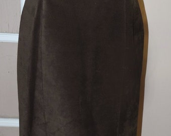 Danier Brown Suede/Leather Pencil Skirt/Vintage Ladies Clothing, Size 12