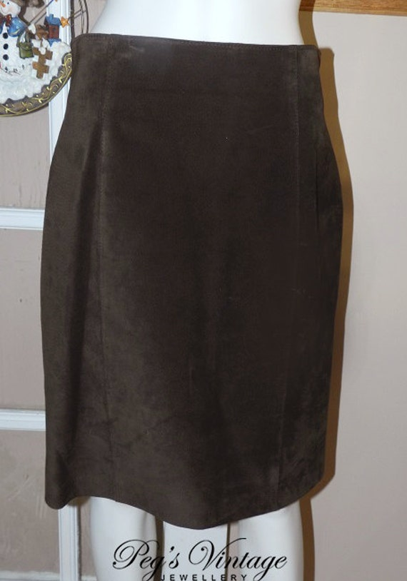 danier leather skirt brown suede pencil skirt vintage