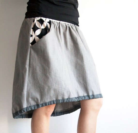 grey denim skirt asymmetrical skirt denim skirt skirt by