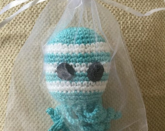 Crochet octopus toy turquoise 6""