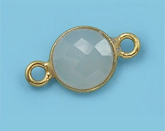 10 ea. Tiny 6mm White Onyx and Vermeil Bezel Connecor Link Birthstone