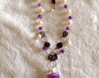Necklace Amethyst Fresh Water Pearls Antique Silver