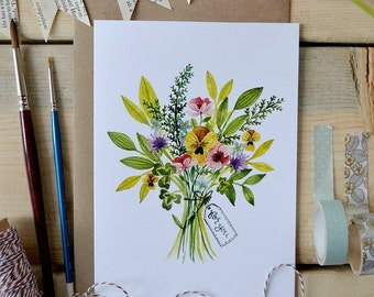 Watercolor Note Card/ Just Because Card/ Friendship Card/ Blank Greeting Card/ Spring Art/ Wildflower Bouquet Card- 5x7
