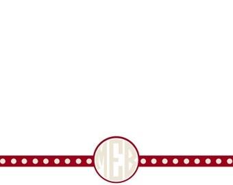 Monogram Crimson and Cream Stationery - 5x7 Flat Note Cards