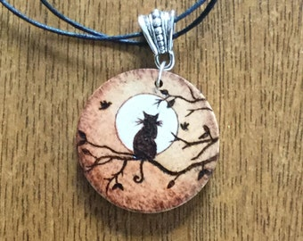 Wooden silhouette cat necklace