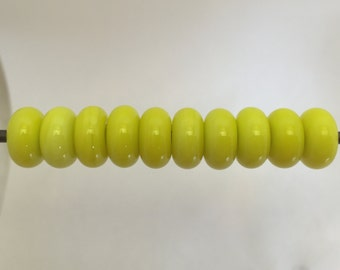Yellow Lampwork Glass Bead Spacers Donut MADE TO ORDER