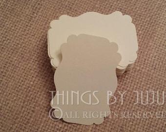 100 Ivory Label Tag Blank Tag,Gift Tag/Bracket Tag,Wedding Tag,Favor Tag,Label Die Cuts  2 1/4x1 1/2