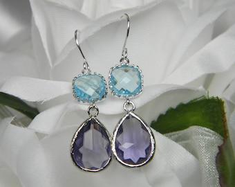 Aqua Blue and Purple Teardrop Glass earrings, Purple, Amethyst, Tanzanite, Aqua Blue, Bridesmaid Jewelry Bridesmaid Gift Blue Earrings TDS1
