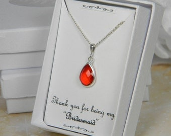 Red /Silver Bridesmaids Teardrop necklace, Red Glass Teardrop Necklace, Bridesmaid Gift, Red Bridesmaids Necklace - TD