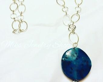 Long Silver Pendant Necklace, Long Silver & Turquoise Necklace, Long Chain Necklace with Pendant, Long Silver Necklace