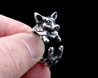 Silver Corgi Ring, Welsh Corgi Ring, Sterling Silver Ring, Dog Ring, Puppy Ring, Animal Jewelry, Silver Jewellery, Dog Wrap Ring, Adjustable
