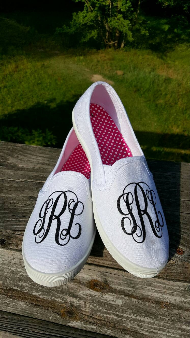 glitter monogram canvas slip on shoes