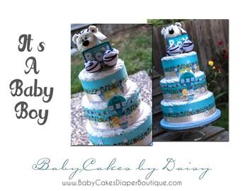 Baby Boy Diaper Cake, Boy Diaper Cake Gift