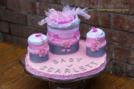 Baby Shower Cake - Blanket Cake - Baby Girl - Diaper Cake alternative - Pink and Gray - Centerpiece for Baby Shower - It's a Girl