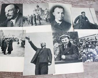 Set of 8 Vintage Postcards with V. I. Lenin ..  Cards ... 1962 year