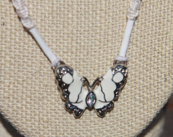 White and Silver Butterfly hemp necklace