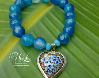 Blue Charm Bracelet with a Large Two-Sided Handpainted Heart