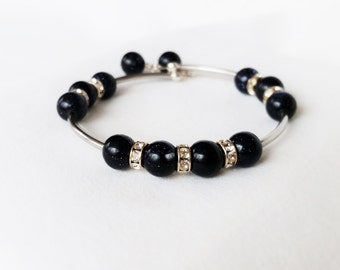 Blue goldstone and silver wrap bracelet
