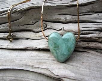 ceramic heart necklace, vintage brass chain