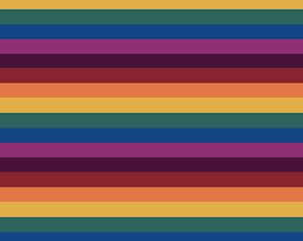 Jewel Stripes on cotton lycra jersey knit fabric - UK seller