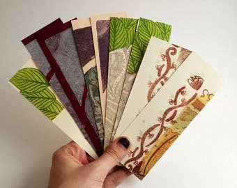 Handmade Bookmarks made from paper scraps and covered with Intaglio and Lithography Prints: printmaking, recycle, upcycle