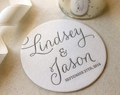 Letterpress Wedding Coasters with Couples Name, Custom Font and Color, modern, Simple, wedding favors, table decor, monogram, calligraphy