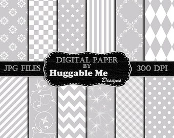 Silver Scrapbook Paper - Instant Download Grey and White Pattern Paper for Wedding, Scrapbook, Backgrounds, Cards 12x12 - HMD00115
