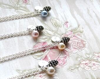 Set of 9 nine Pinecone necklaces Bridesmaid necklace Autumn wedding Personalized Bridesmaid Jewelry with Swarovski bridesmaid gift