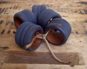 Upcycled grey distressed napkin rings / painted napkin rings / set of five