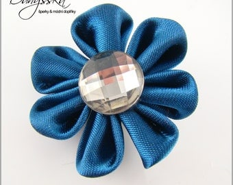 Blue Kanzashi Flower - Brooch 225